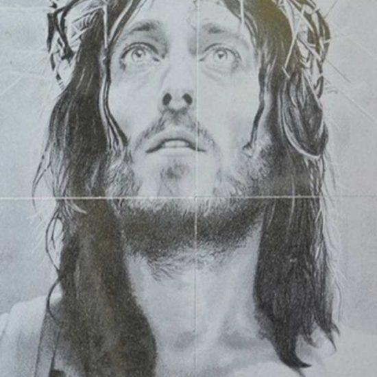 Fotogravura icoana Isus pe 4 placi de granit