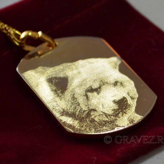 pandant de aur gravat cu fotografie caine