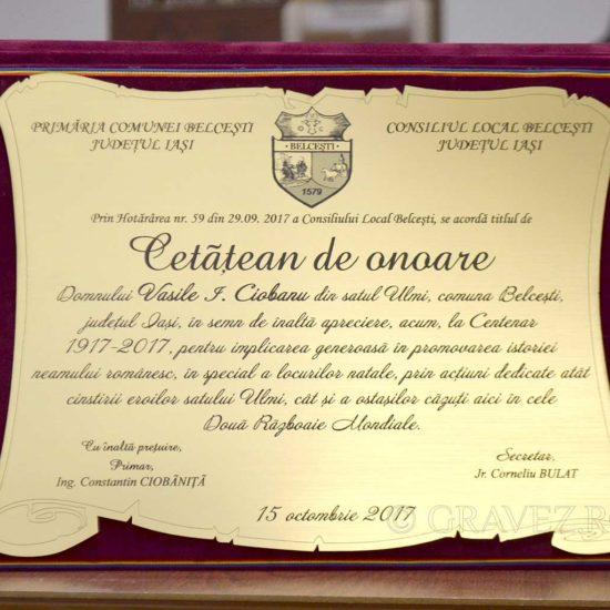 gravura placheta-cetatean-de-onoare-in-mapa---metalex din materiale speciale pentru trofee premii si medalii