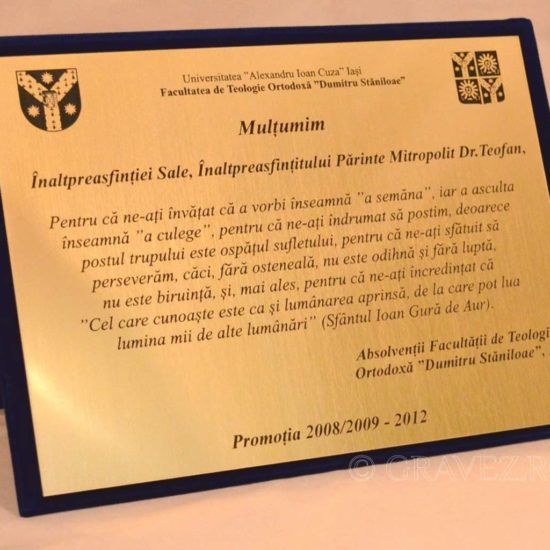 placheta de multumire multumire pentru profesori universitari teologie in metalex auriu