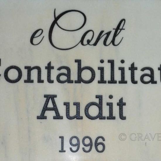 Gravura in marmura pentru placa semnalistica firma audit contabilitate