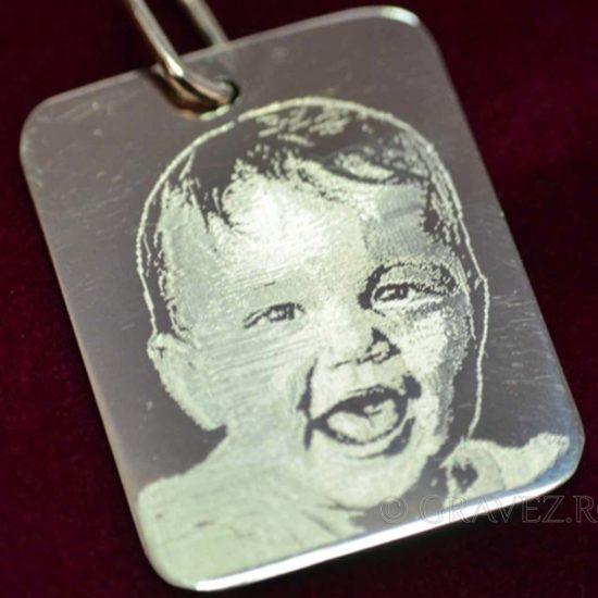 pandantiv gravat cu diamant cu fotografie copil