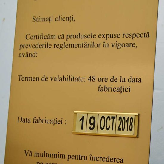 placa semnalizare gravata in metalex cu sina si caractere interschimbabile pentru cofetarie