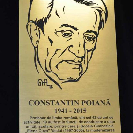 Placa de comemorare profesor director in metalex
