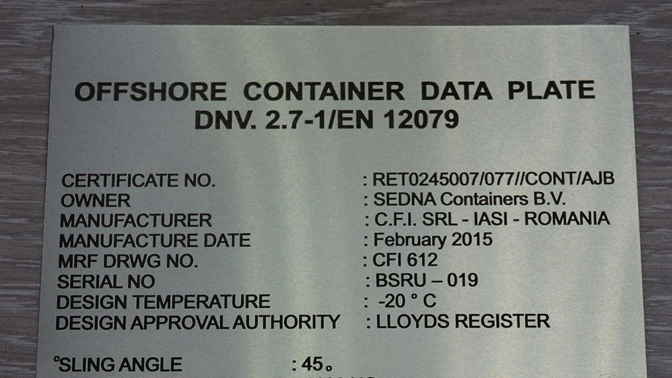 placa containere marcata laser in aluminiu
